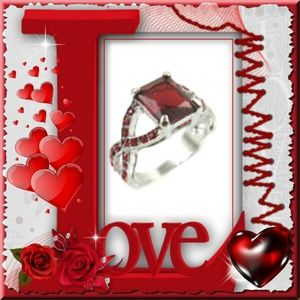 Simulated Delicate Ruby 18K Platinum Plated Ring
